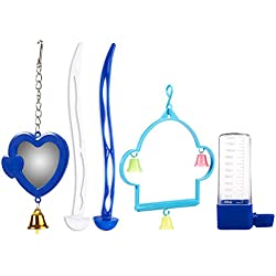 Juvale 5-Piece Bird Cage Accessory Set - Includes Swing, Mirror, 2 Perches, Waterer - Perfect Small Birds Such as Parrots, Cockatiels Parakeets, Assorted Colors