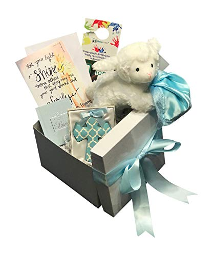 Baby Christening Baptism Gift Set Includes Gund Lamb, Crib Cross, and Baby Bible with Box, Bow, and Card Complete Bundle