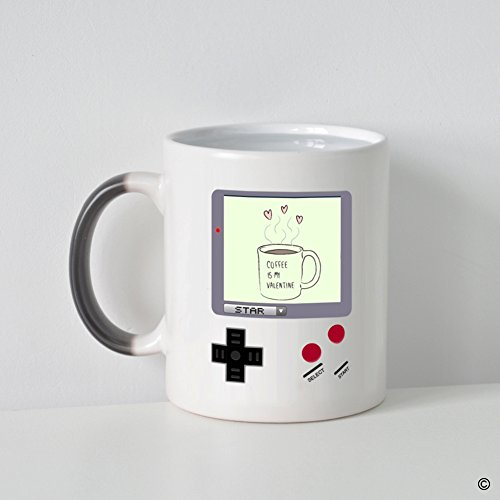 MsMr Custom Morphing Coffee Mug -Funny Mug - Quotes - Nintendo Gameboy Coffee Is My Valentine Heat Changing Color Mug 11oz