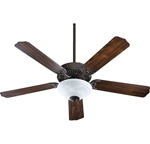 Fan Holder Ceiling Blade (Quorum International 77525-9544 Capri III 52-Inch 2 Light Ceiling Fan, Toasted Sienna Finish with Faux Alabaster Glass Light Kit and Reversible Blades)