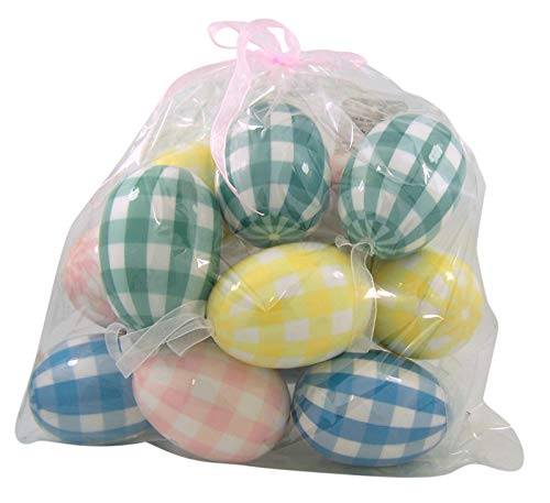 Pastel Colored Checked Styrofoam Easter Egg Ornaments, Pack of 12 -