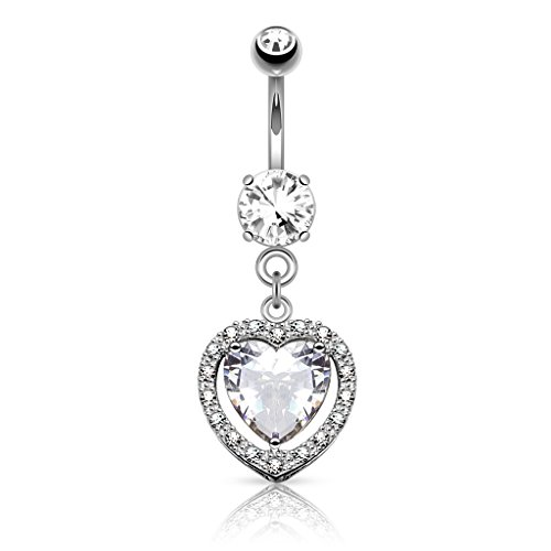 Heart Belly Gold Dangle (14K White Gold Heart Shaped CZ Dangle Navel Ring Body Jewelry)