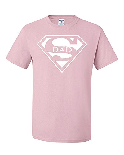 Super Dad Funny T-Shirt Father's Day Birthday Gift for Dad Husband Super Hero S Light Pink