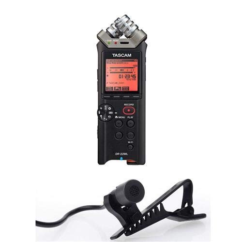 Tascam DR-22WL 2-Channels Portable Handheld Audio Recorder with Wi-Fi, 3.5mm Mini Jack, Connector, 10kOhms Impedance, USB2.0 - with Stony Edge Simple Lav Condenser Omni-Directional Lavalier/Lapel Mic
