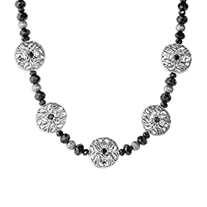 Kenneth Johnson Sterling Silver Black Spinel Spider Necklace from Relios