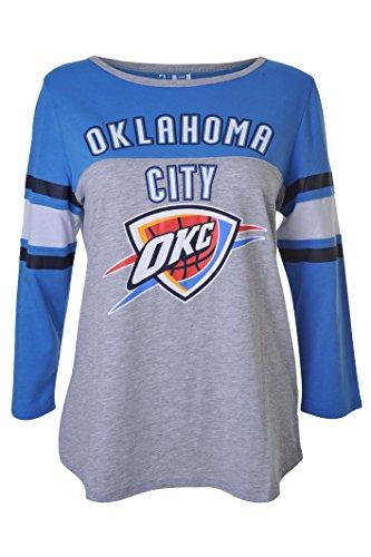 fan products of NBA Women's Oklahoma City Thunder T-Shirt Raglan Baseball 3/4 Long Sleeve Tee Shirt, Large, Blue