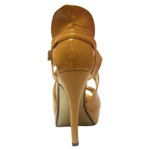 Kvinna Beige Strappy Plattform Högklackade Sandaler