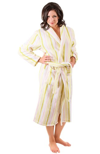 Del Rossa Women's Fleece Robe, Shawl Collar Bathrobe, Large XL White Candy Striped (A0111P01XL)
