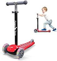 Fawn Toys 3-Wheel Junior Kick Scooter Flashing Wheels/Lean to Turn/Indoor/Outdoor 2-6 Yrs