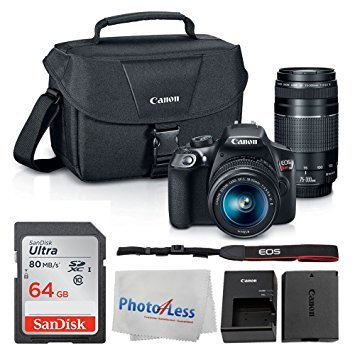 Canon EOS Rebel DSLR T6 Camera Body + Canon EF-S 18-55mm IS II Lens & EF 75-300mm III Lens + Canon EOS Shoulder Bag (Black) + SanDisk SDXC 64GB Memory Card + Cleaning Cloth + Ultimate Canon Bundle