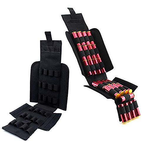 (FIRECLUB Tactical 25 Rounds Shotshell Pouch Holder Compact Foldable Shotgun Reload Ammo Mag Bag Quick Access Shotgun Shell Carrier (Black))