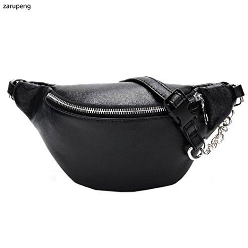 zarupeng-bolsas cintura del bolso de hombro de la bolsa de mensajero del cuero de la cadena de la moda de las mujeres Negro