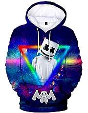 OLIPHEE Jongens Hoodie 3D Print Sweatshirt met Capuchon en Kangoeroezak geïnspireerd op de DJ-muziekstijl