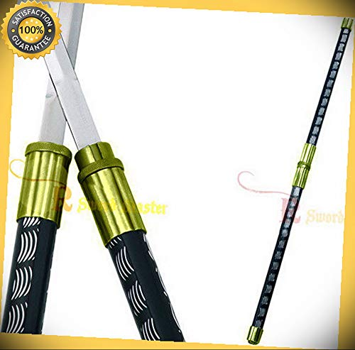 (2 in 1 Gold Double Bladed Ninja Sword Staff Spear perfect for cosplay outdoor camping)