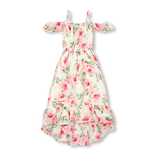Floral Bunny - The Children's Place Big Girls' Cold Shoulder Floral Dress, Bunnys Tail, L (10/12)