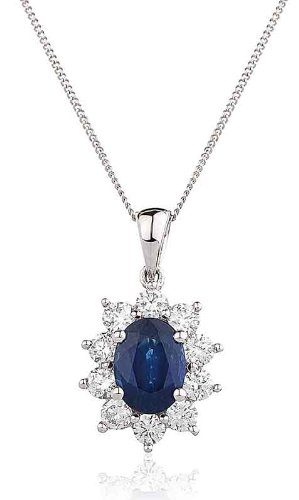 1.40CT Certified G/VS2 Blue Sapphire Oval Shape Centre and Round Brilliant Cut Claw Set Diamond Pendant in 18K White Gold