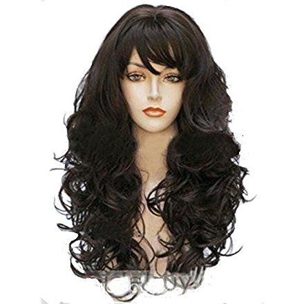 Wig buy Hair Long Wigs Wavy Curly 24inche Brown Long Wigs Women (Brown) (Top Curly Long Wig)