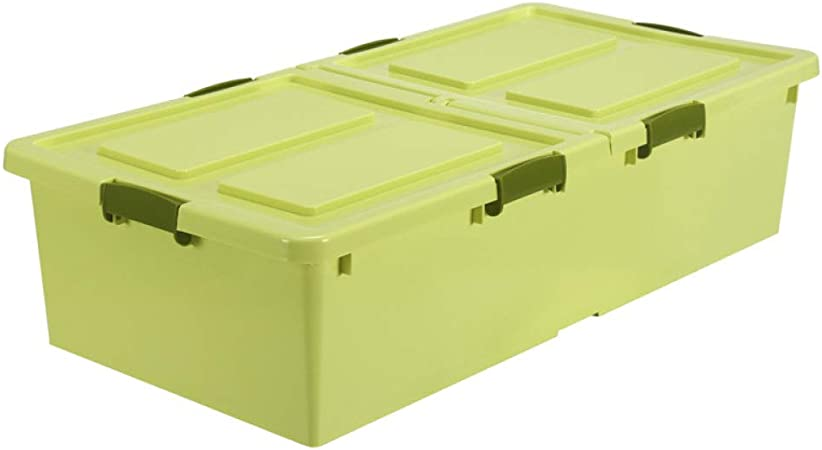 QXTT Caja De Almacenamiento Multiusos Bajo Cama con Tapa Y Ruedas Cajas De Almacenaje,GreenSmall: Amazon.es: Hogar