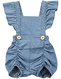 aa176ef14411 Infant Baby Girls One Piece Short Sleeve Ripped Demin Jeans Ruffle Romper  Sunsuit Outfits Jumpsuit