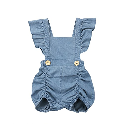 Calsunbaby Infant Baby Girls One Piece Short Sleeve Ripped Demin Jeans Ruffle Romper Sunsuit Outfits Jumpsuit (Z#Blue, 6-12 Months) ()