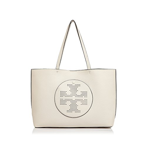Tory Burch Perforated Logo Tote - Ivory / Court - Burch Bags Tory Beach