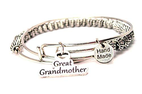 (Great Grandmother Beaded Expandable Wire Bangle)