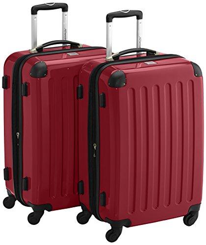 HAUPTSTADTKOFFER - Alex - 2er Koffer-Set Hartschale glänzend, 65 cm, 74 Liter, Graphit-Gelb Rot