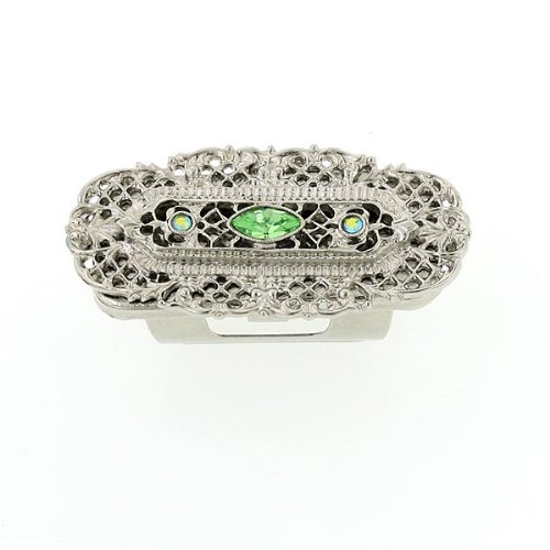 1928 Jewelry Vintage Inspired Green Crystal Lipstick Holder with Mirror