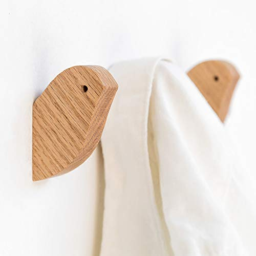 Natural Wooden Coat Hooks Wall Mounted - Vintage Single Organizer Hangers,Handmade Craft Hat Rack (Oak, Pack of 2)