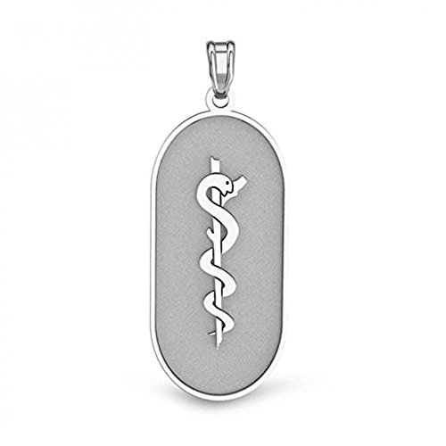 PicturesOnGold.com Sterling Silver OVAL Medical Pendant - 3/4 Inch X 1-1/4 Inch WITH ENGRAVING