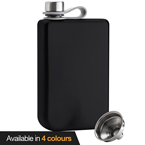 8oz Hip Flask & Funnel Set Stainless Steel Pocket Container for Drinking Liquor e.g. Whiskey, Rum, Scotch, Vodka | Rust & Leak Proof Discreet Alcohol Canteen, can be Engraved - Stainless Steel Classic Hip Flask