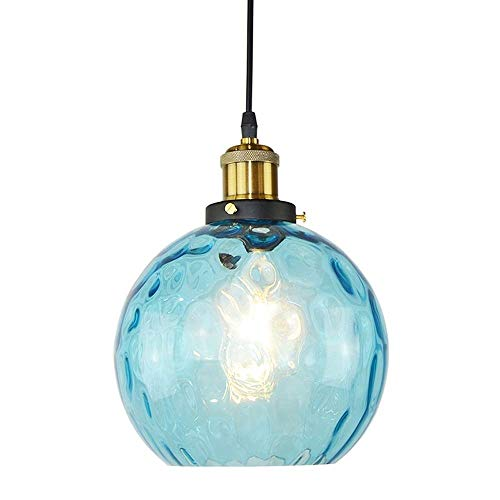 WYKDL Modern Blue Glass Chandelier Light E27 Creative Pendant Lamp Bowl Lighting with Glass Shade for Living Room Bedroom Dinning Room ()