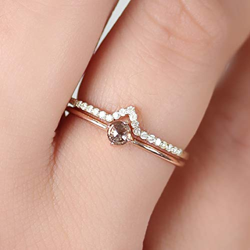 Fine Natural 0.12 Ct Diamond Pave V Shape Chevron Ring Solid 14k Yellow Gold Delicate Handmade Jewelry ()