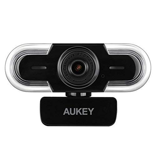 AUKEY Webcam 2K HD with Auto Light Adjustment, Manual Focus and Mic, Live Streaming Camera, USB Webcam for Widescreen Video Calling and Recording, Compatible with Windows, Mac OS and Android