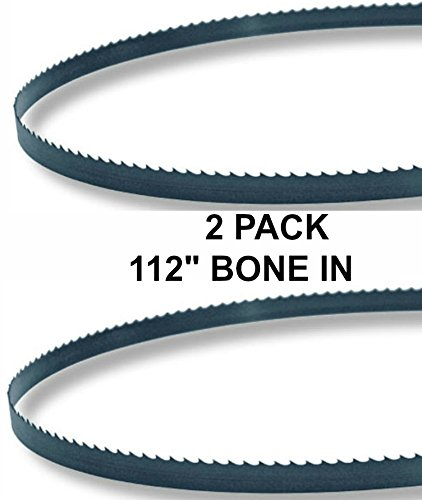 112x5/8x3TPI - 2 Pack Bone In Bandsaw Blades - Meat Cutting Fits Hobart 5014, Butcher Boy B14, Cobra 14, Superior Jones Junior, Many More ()