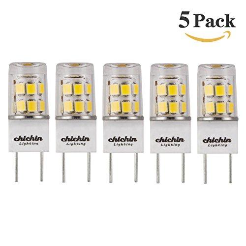 ChiChinLighting 5-pack LED G8 LED Bulb Pure White Daylight White 6000k 35mm G8 Base LED Bulb G8 T4 20w 120v Xenon LED Replacement Cool White ()