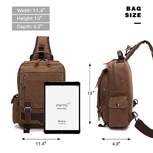 Unisex Lightweight Multi Pockets Canvas Small Day Bag School Backpack Vintage Travel Hiking Rucksack for Men/Women Daypack