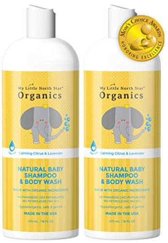 Organic Baby Shampoo & Body Wash - Tear-Free Shampoo for Toddlers & Kids - Chemical-Free Eczema Relief Natural Soap - Made in the USA - Calming Lavender & Citrus Essential Oils 2-pack 16 oz 2 in 1