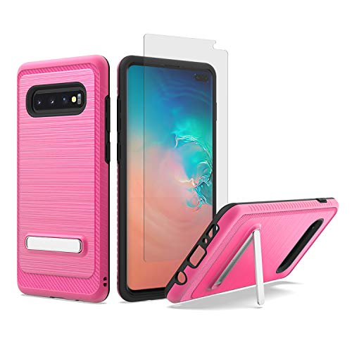 UNC Pro 2 in 1 Cell Phone Case w/Kickstand, Brushed Metal Style Hybrid Case + Tempered Glass Screen Protector, Shockproof Bumper Anti-Scratch Dual Layer Case for Samsung Galaxy S10 Plus, Hot Pink