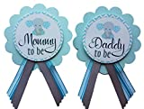 2 Mommy to Be & Daddy to Be Button Pins Elephant Baby Shower It's a Boy for parents to wear, Blue & White, It's a Girl Baby Sprinkle