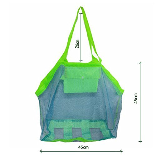 Large Foldable Sand Away Children Beach Toys Organizer Storage Bags Green Dosige Beach Mesh Tote Bags