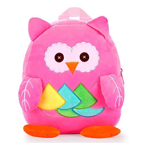 Travel Girl - Nice Choice Cute Toddler Backpack Toddler Bag Plush Animal Cartoon Mini Travel Bag for Baby Girl Boy 1-6 Years (Owl Pink)