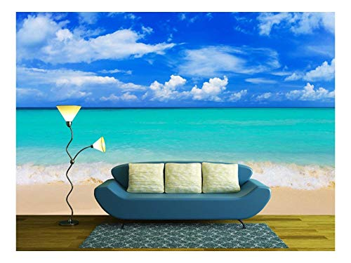wall26 - Word Paradise on Beach - Concept Travel Background - Removable Wall Mural | Self-Adhesive Large Wallpaper - 100x144 inches (Beach Mural)