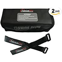 FinishlineFPV Lipo Battery Safe Charging Storage Charge Guard Bag 2Pack with 4ea 250mm Battery Straps