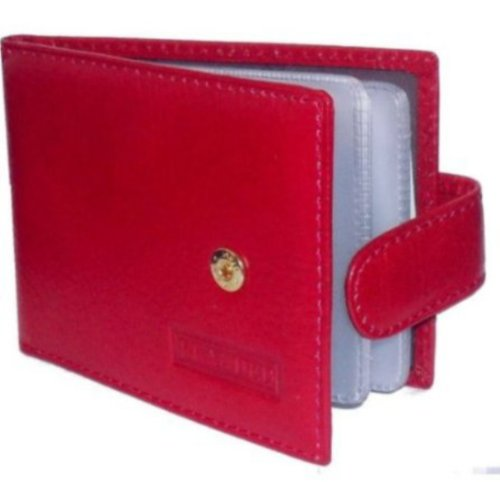 Holder red Red Leather By Credit Card Branded Landscape XPfYT