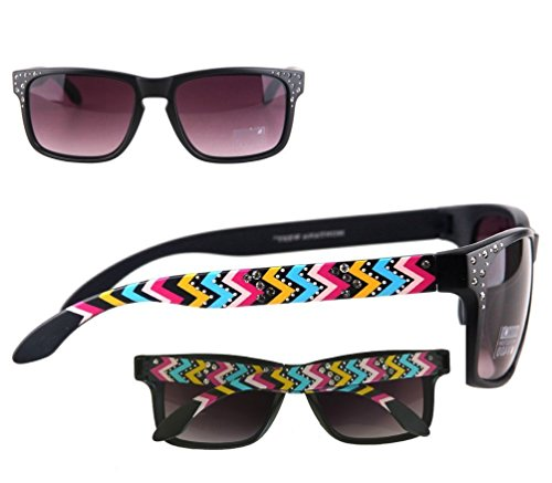 montana-west-ladies-sunglasses-aztec-design-thin-frame-black-lense-multi-color