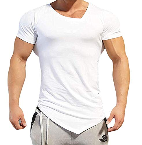 uilding Muscle Training Short Sleeve gym Workout Fitness T shirt (XXLG, White) ()