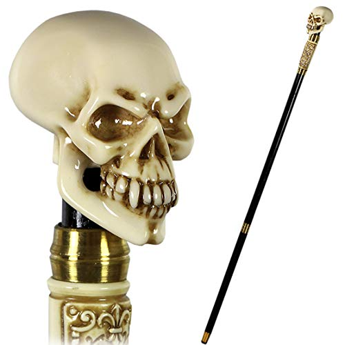 GC-Artis Halloween Steampunk Skull Walking Stick Cane Gothic Style Knob Handle Black Wooden Shaft Folding 36