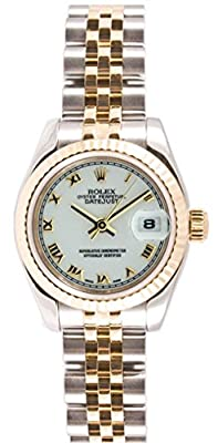 Rolex Ladys New Style Heavy Band Stainless Steel & 18K Gold Datejust Model 179173 Jubilee Band Fluted Bezel White Roman Dial