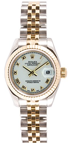 (Rolex Ladys New Style Heavy Band Stainless Steel & 18K Gold Datejust Model 179173 Jubilee Band Fluted Bezel White Roman Dial)